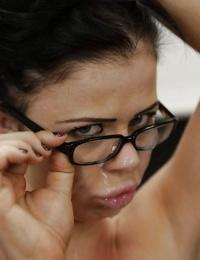 Big boobed brunette teacher Loni Evans taking cumshot on glasses