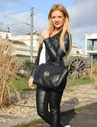 French amateur blonde disrobes to fuck a stranger wearing black stockings