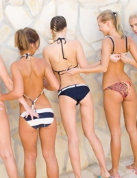 Sexy young teens posing and masturbating on beach - part 1360