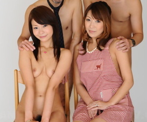 MILF Jun Kusanagi and her stepdaughter Yuri Aine pose naked with two cute men
