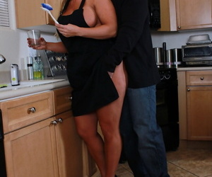 White wife Alura Jenson gets banged in the kitchen after hubby gets home