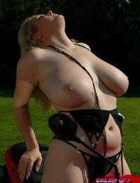 Fat first timer Ashley Sage Ellison unleashes her huge boobs on a scooter
