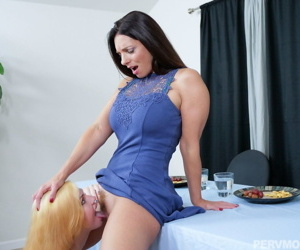 Teen girl gets scolded by stepmother and has to eat her pussy to make amends