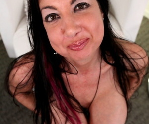 Chesty MILF Nadia Night lets her mega udders loose for hot naked handjob