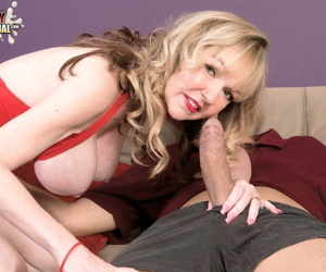 Hot grandmother Janee Diamond sucks the cum out of toy boys dick
