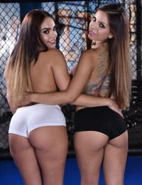 White girls Yuri Luv & Selena Santana hump while removing spandex attire
