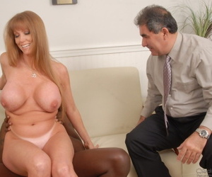 Milf Darla Crane is interrupted while enjoying a hardcore fuck by a huge cock