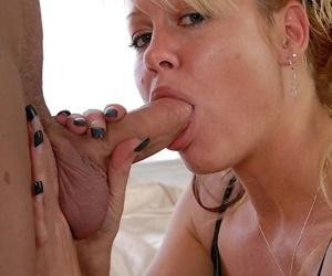 Older blonde woman Jenny goes ass to mouth with her younger lover