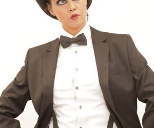 American brunette pornstar Dana Vespoli posing dressed as an actor