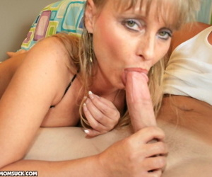 Middle-aged woman Trish Demaris sucks off a well hung college boy