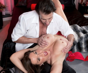 Older woman Rachel Steele seduces a man wearing tan nylons and garters