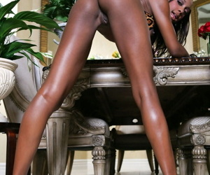 Ebony beauty Monicka Jaymes loves to finger herself while wearing lingerie