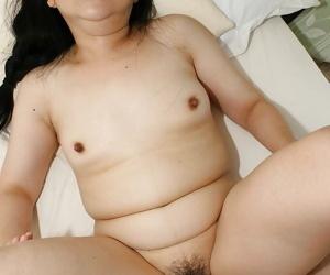 Fatty asian slut Yasuko Watanabe gets her hairy twat boned-up and creampied