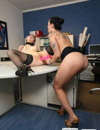 Horny hot goth lesbian office hotties get jiggy with dildos & coworker cock
