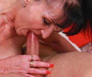 Older lady Ginger Kovra enjoying hardcore sex with younger in knee socks