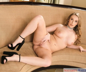Gorgeous blonde with medium tits Harley Jade strips off her black dress