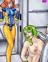 Jean Grey joins Lorna Dane and Colossus for threesome.