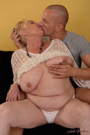 BBW granny Sila shows her large boobs- blows young mans dick and gets screwed