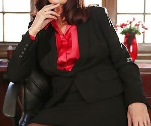 Mature boss woman Magdalene St Michaels spreading hairy pussy in office