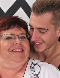 Obese grandmother Uma Womba nails her boy toy with her glasses on