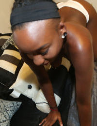 Sexy ebony Naomi is sucking this juicy wide prick and swallowing