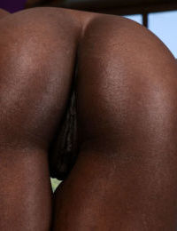 Ebony first timer Ana Foxxx works free of skirt and panties to model naked