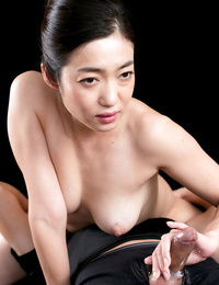 Remarkable Japanese doll takes a dick and strokes it until it erupts