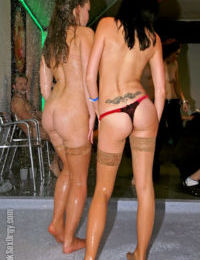 Salacious party sluts sucking dry male strippers hard cocks