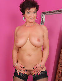Horny older housewife Jessica Wild frees her bi saggy tits & spreads beaver