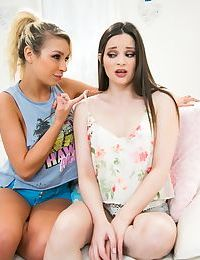 Teen girls Carmen Caliente & Jenna J Ross please their twats with tongues