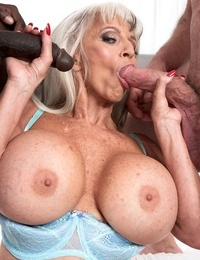 Scorching older chick Sally DAngelo pounds a black and white guy simultaneously