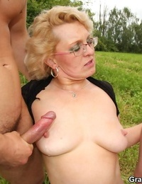 Busty old grandma having a 2 huge shafts to fuck - part 4490