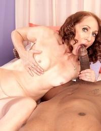 Dark-hued stud screws mature massagist and fills her shaven vagina with seed