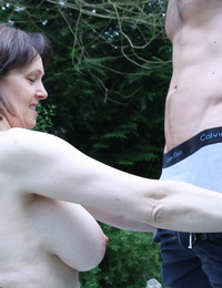 British housewife gets humped doggystyle in the garden by her plaything gifted