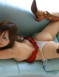 Japanese model Hikaru Koto reveals her hooters and bush in pointy footwear