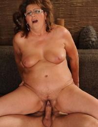 Redhead mummy Gigi M enjoy while giving a blowjob and railing a youthful cock