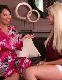 Exotic masseuse Asa Akira acquaints blonde Angelina with world of lust