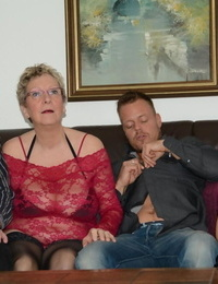 Old & huge amateur granny likes xxx 4 way with younger mature duo