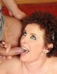 Brunette granny Babuska showcases her big tits and gets her puss rammed