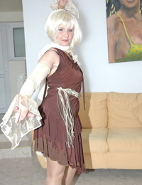 Ash-blonde granny Marianne jerks before getting nailed by captured stud