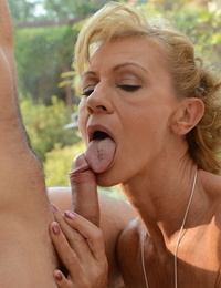 Filthy dark-haired granny Katherin gets rammed by her youthful paramour outdoors