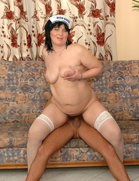 Mature nurse in stockings Rosalia rails her youthfull patients stiff cumbot